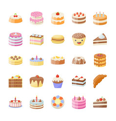 Set of cake flat icons vector