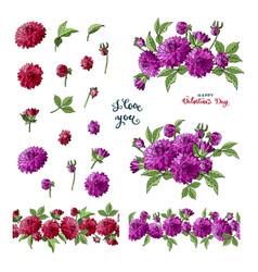Set of multicolored dahlia floral elements vector