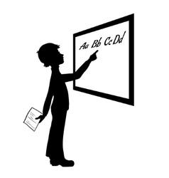 Silhouette of schoolboy at blackboard vector image