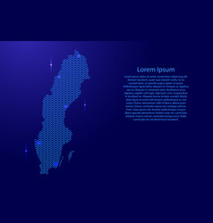 silhouette of sweden country from wavy blue space vector image