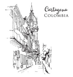 sketch cartagena colombia vector image