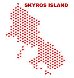 skyros island map - mosaic of valentine hearts vector image