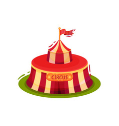 small red circus tent with flag on top vector image
