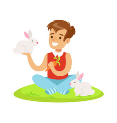 smiling boy sitting on green grass playing and vector image
