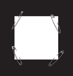 square template with safety pin vector image