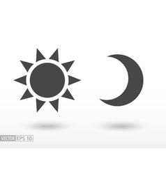 Sun and moon flat icon logo for web design mobile vector