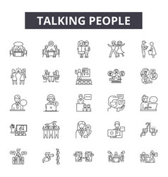 Talking people line icons signs set vector