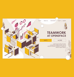 teamwork at openspace office isometric landing vector image