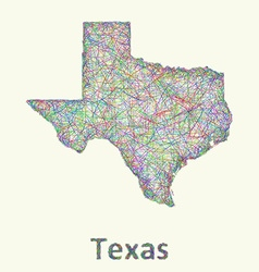 Texas line art map vector