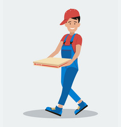 the man hurries to deliver the pizza the concept vector image