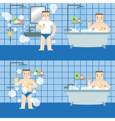The man in the bathroom Set vector image