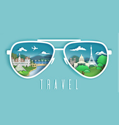 Travel to paris paper cut vector