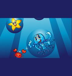 Underwater scene with various sea animals vector