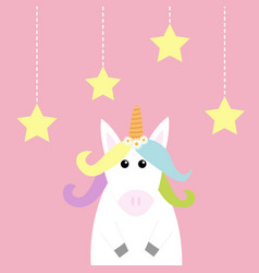 unicorn hanging stars dash line pastel color vector image