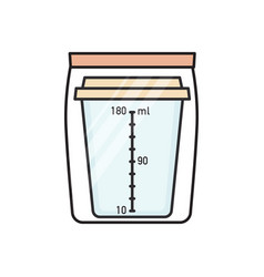 Urine collection container in sealed plastic bag vector