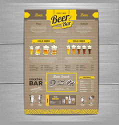 Vintage beer menu design on cardboard background vector