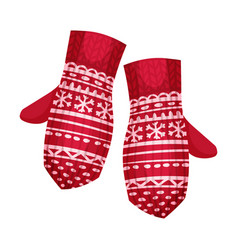 Warm cartoon clothing item isolated mittens flat vector