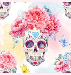 watercolor skull seamless pattern vector image