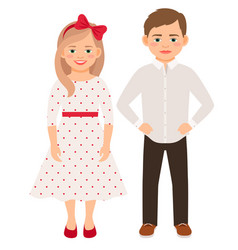 cute cartoon fashion kids couple vector image