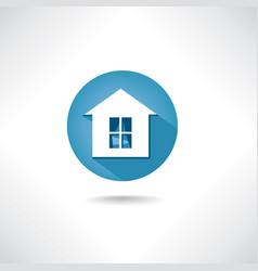 home icon circle blue button building facade sign vector image