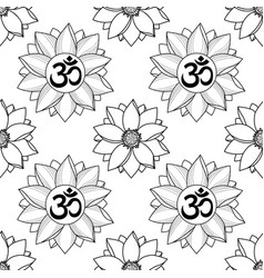 om and lotus seamless pattern vector image vector image