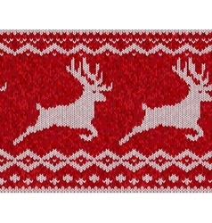 Red knitted sweater with deer seamless pattern vector image