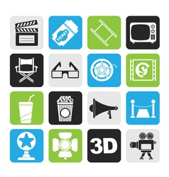 Silhouette Cinema and Movie icons vector image