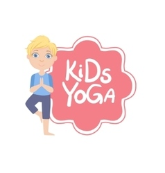 Boy In Tree Pose With Yoga Kids Logo vector image vector image