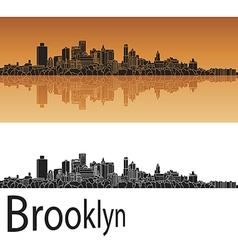Brooklyn skyline in orange vector image