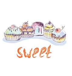 Cakes and cupcakes sketch - hand drawn vector image vector image