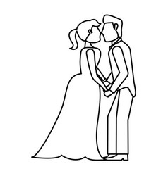 couple kissing wedding romantic outline vector image vector image