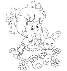 Girl and Bunny vector image