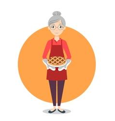 Grandma with sweet pie in her hands vector image