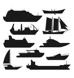 sea ship silhouettes vector image