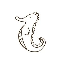 silhouette seahorse animal marine design vector image