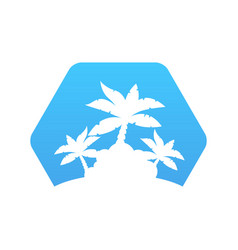 abstract hexagon icon with palm trees vector image vector image