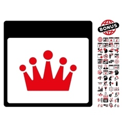 Crown Calendar Page Flat Icon With Bonus vector image vector image