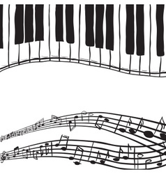 Piano keys and music notes vector image