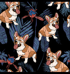 seamless pattern with dog and leaves vector image vector image