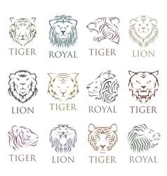 Tiger face head silhouette logo vector image