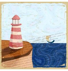 Vintage postcard with a lighthouse and a small boa vector image