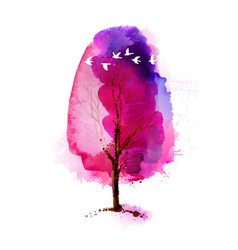 blossoming spring watercolor pink tree and flock vector image vector image