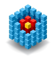 Blue cube logo with red segments vector