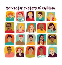 children avatars group set vector image