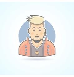 Rock music fan stylish man icon vector