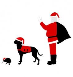santa claus dog and kiwi vector image