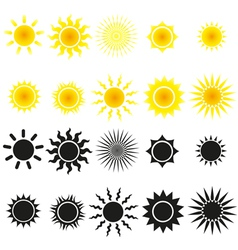 Set of sun in yellow and black vector image vector image