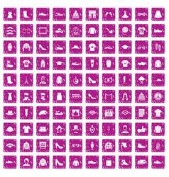 100 fashion icons set grunge pink vector