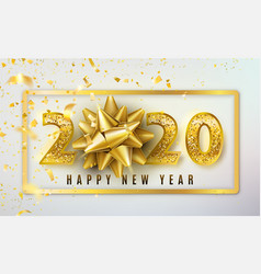 2020 happy new year background with golden vector