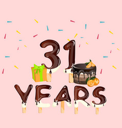 31 years birthday design for greeting cards vector image
